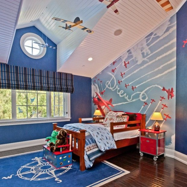 Stylish Boys Bedroom Ideas In Blue, Wonderful Blue Room With The Plane Wall  Murals Stickers
