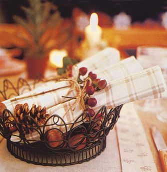 Country style decoration for the Chritmas table