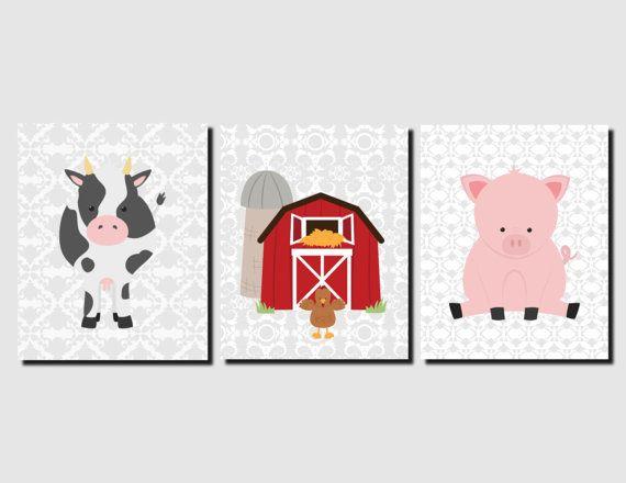 Farm Animals Decor Nursery Pig Cow Barn By Vtdesigns