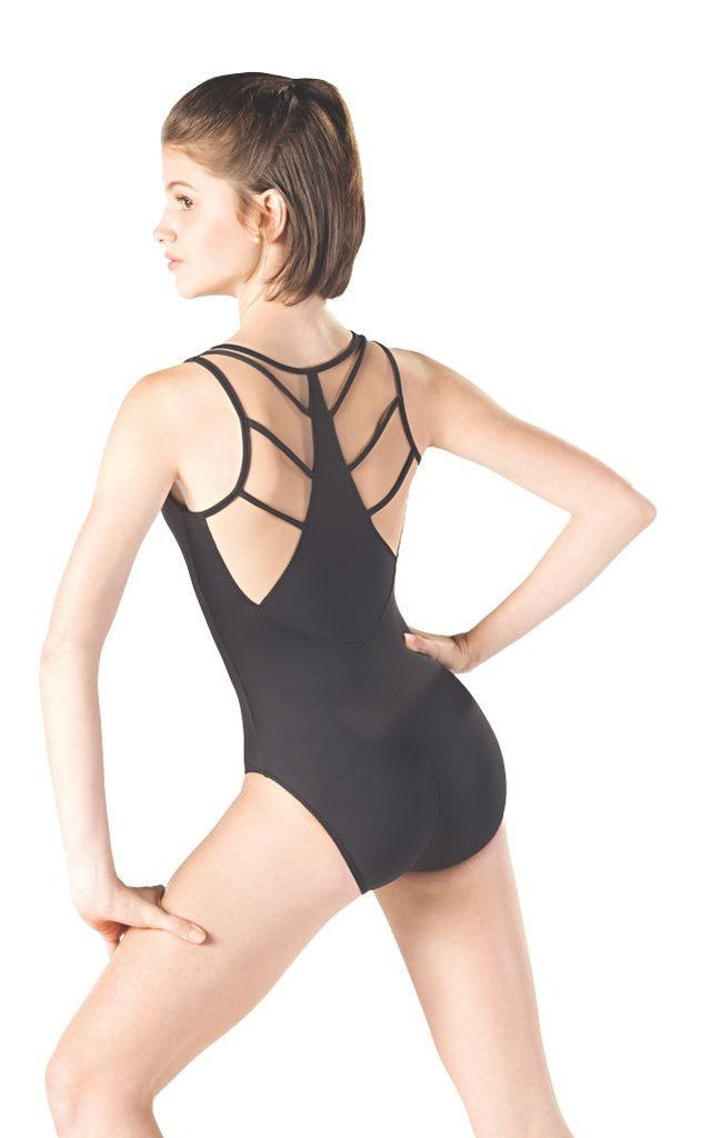 """1036b50f2 Euro cut tank leotard with pinched neckline. Back includes """"spider ..."""