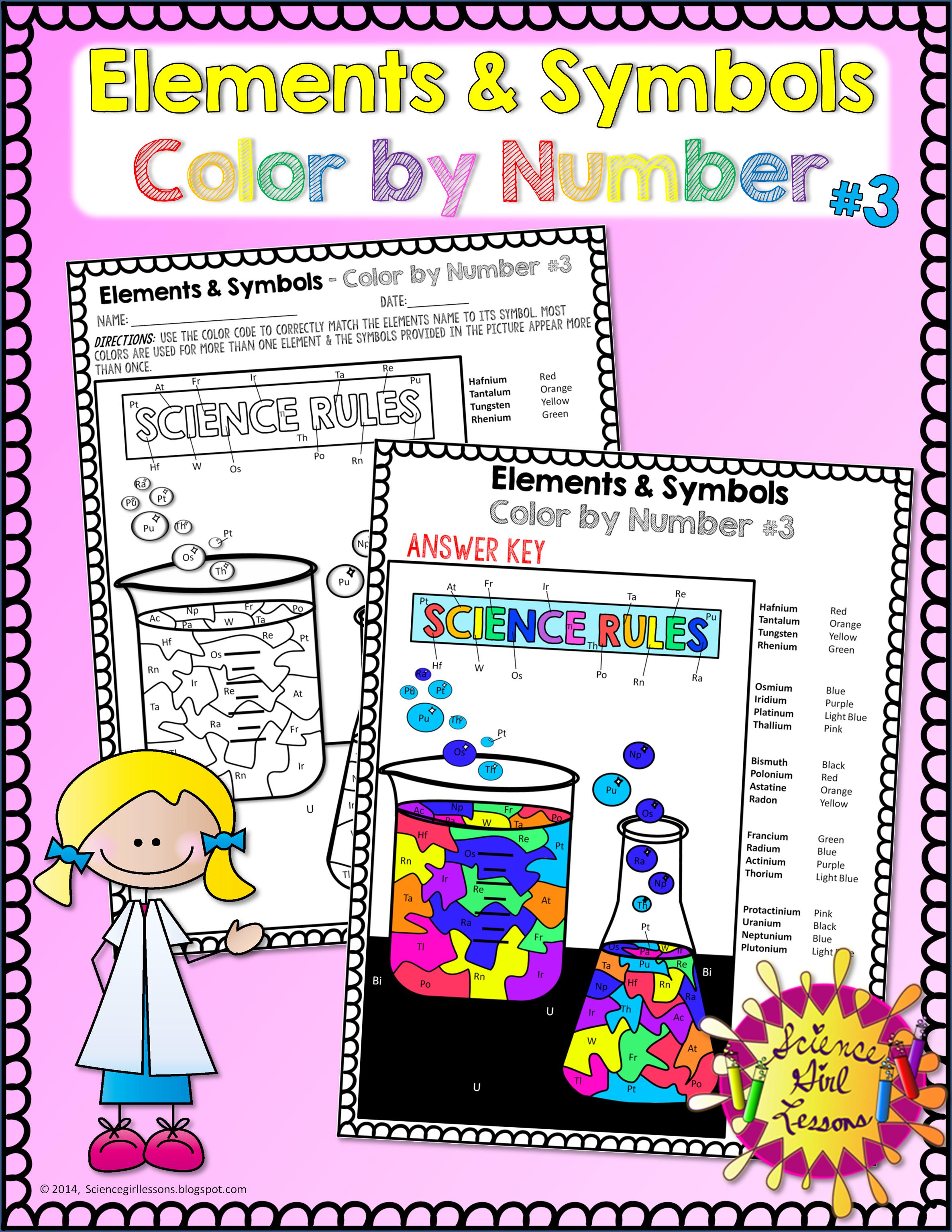 Chemical Elements - Color by Symbols #3 | TpT Science