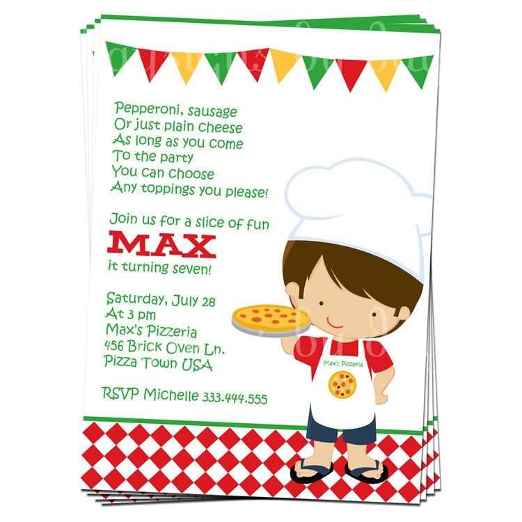 PRINTABLE Boy or Girl Pizza Party Invitation | Pizza party, Pizzas ...