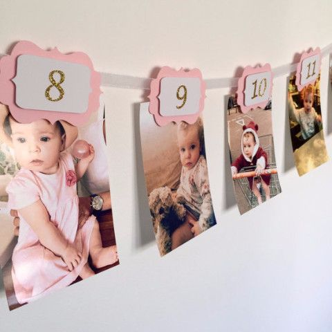 12 Month First Birthday Party Banner Pink Gold First Birthday Banners 1st Birthday Girls Birthday Party Decorations