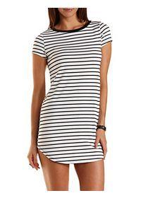 16dbd5e181a Striped Curved Hem T-Shirt Dress