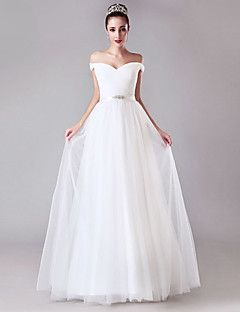 A Line Off The Shoulder Floor Length Tulle Wedding Dress With Crystal Detailing Sash Ribbon Criss Cross By LAN TING BRIDER