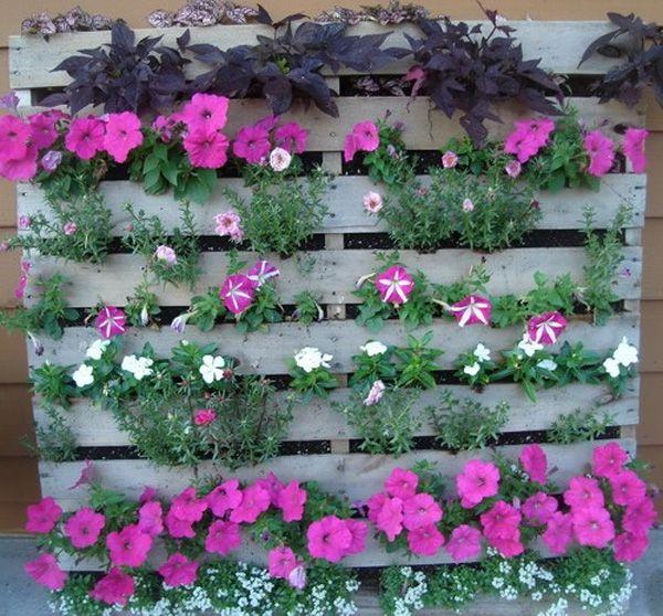 Faça um jardim vertical com paletes de madeira passo a passo Flores que te quero flores  -> Decoração Para Jardins Com Paletes