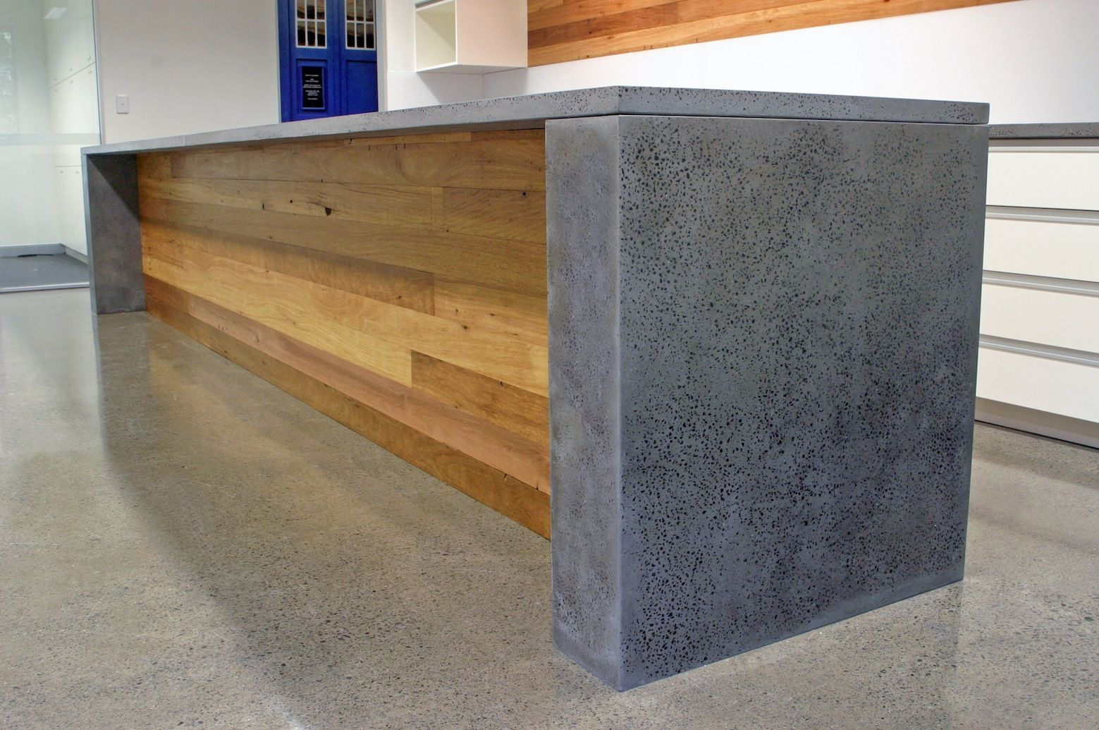 Counter With Polished Concrete Top And