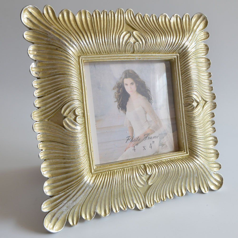 Amazon Com Gift Garden 4x4 Square Gold Picture Frame Vintage Frames 4 By 4 Inch Vintage Frames Frame Gold Picture Frames