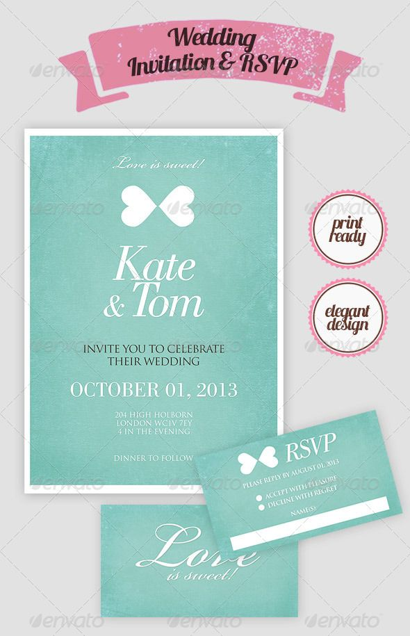 Elegant Wedding Invitation \ RSVP Card Elegant wedding - download invitation card