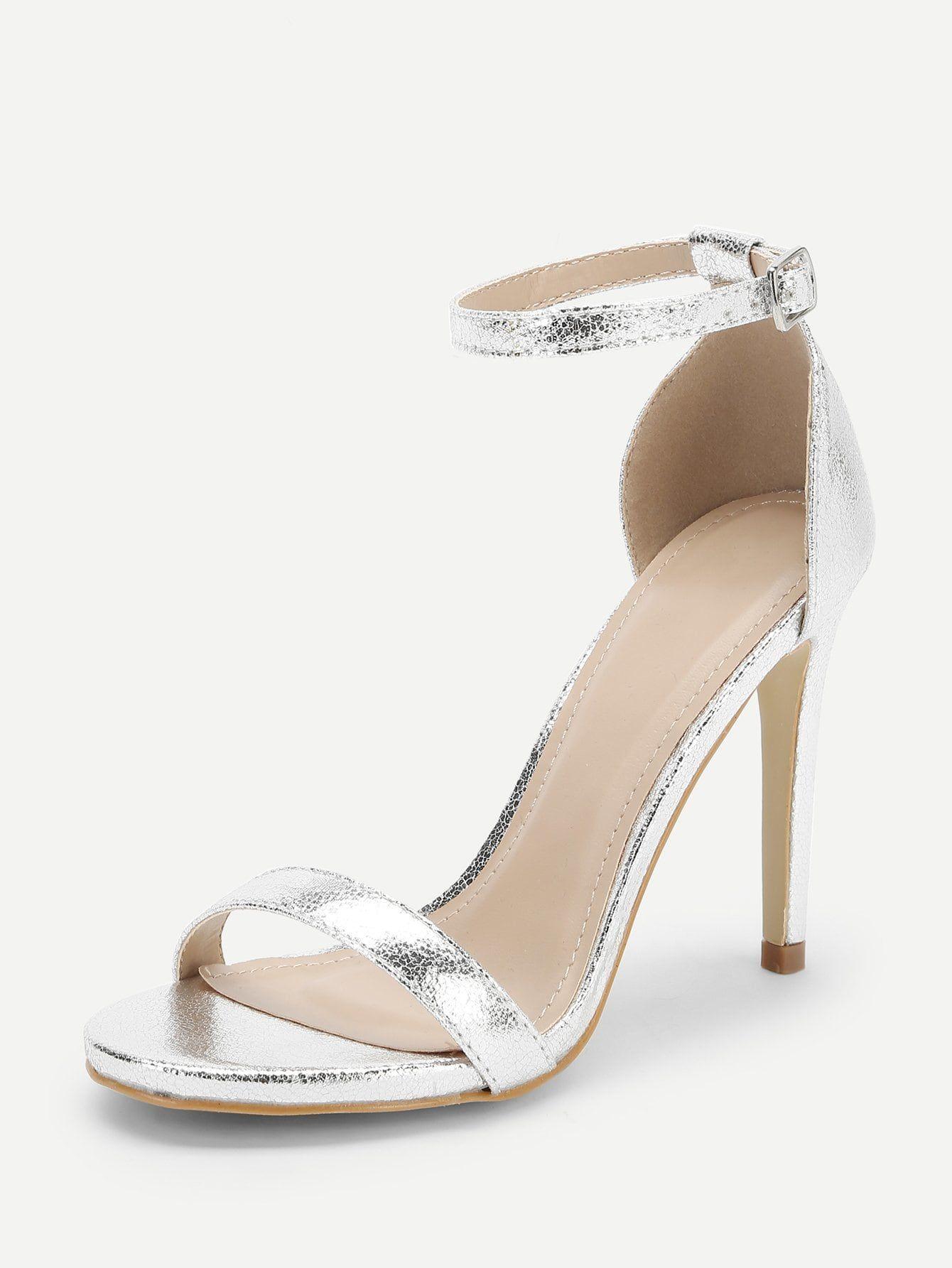 8dffe2d580c Glamorous Open Toe Plain Ankle strap Grey High Heel Stiletto Single ...
