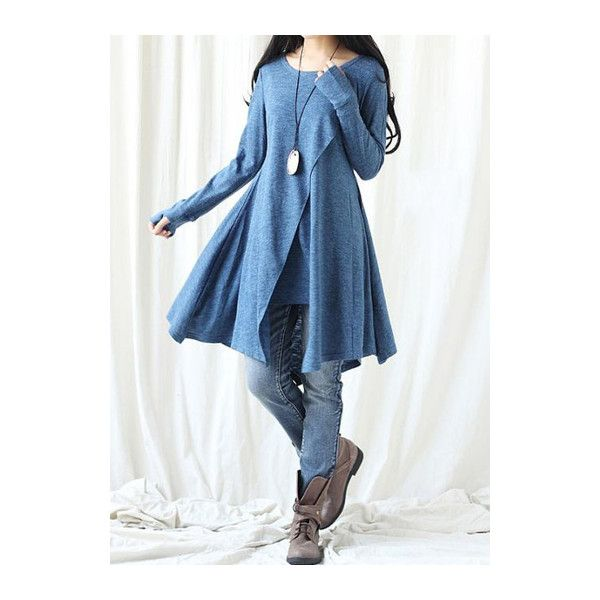Rotita Blue Slit Design Long Sleeve T Shirt ($28) ❤ liked on Polyvore featuring tops, t-shirts, blue, long sleeve t shirts, slit sleeve top, long length t shirts, long-sleeve crop tops and long tops