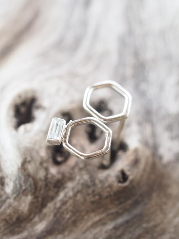 d2049754b Mismatched Hexagon and Aquamarine Stud Earrings Mismatched hexagon and  baguette aquamarine studs.