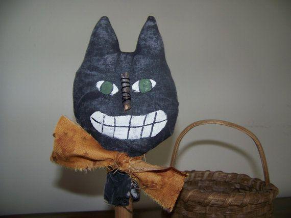 Primitive Black Cat Vintage Bobbin MakeDo by MondaysChildPrims
