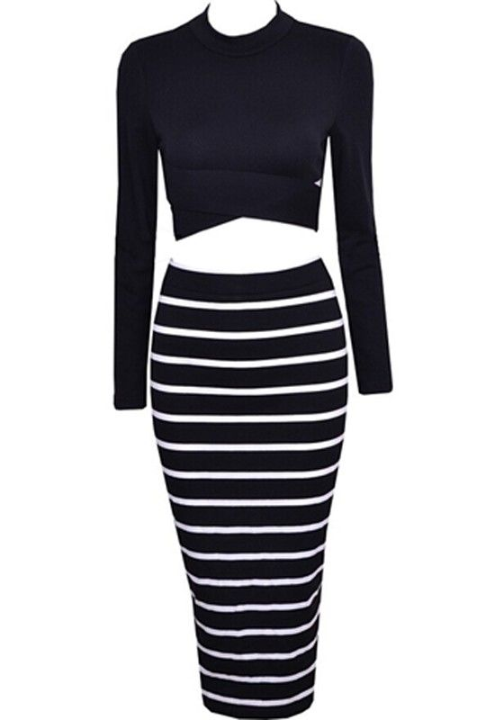 007db60f91952 Black White 2-in-1 Crop Top Bodycon Striped Skirt Bandage Club Party Sexy  Dress Twinset For Women