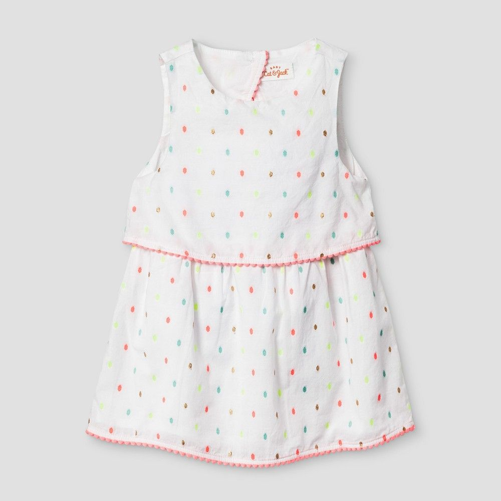 5a731a71d5f3 Baby Girls  Clipspot A Line Dress - Cat   Jack Fresh White 3-6 ...