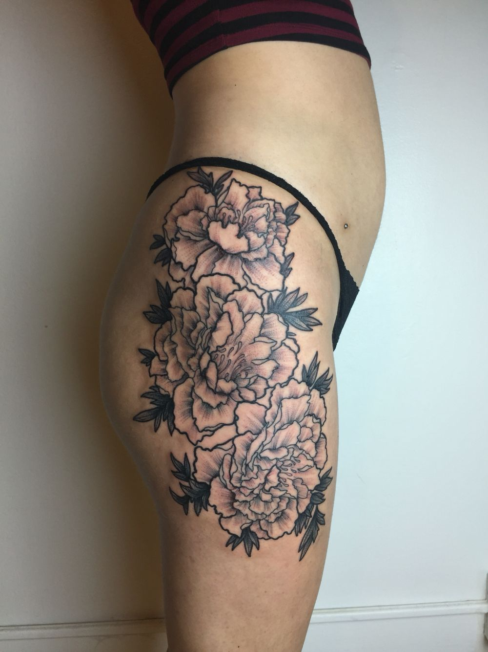 peony flower thigh piece tattoo tattoo pinterest