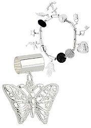 Berloque folheado a prata em forma de borboleta (Pandora inspired)-Clique para…