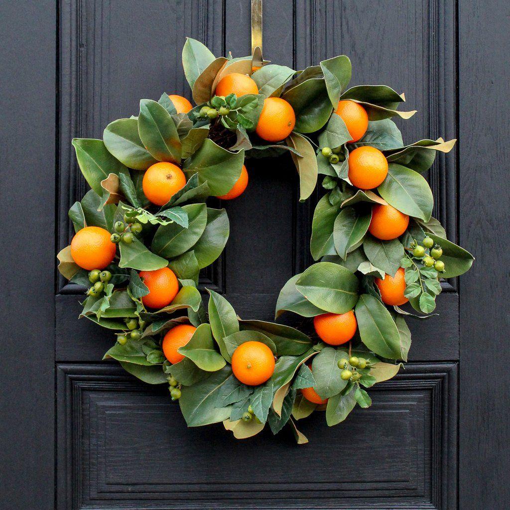 Photo of Orange Citrus Real Touch Magnolia Leaf All Seasons Wreath