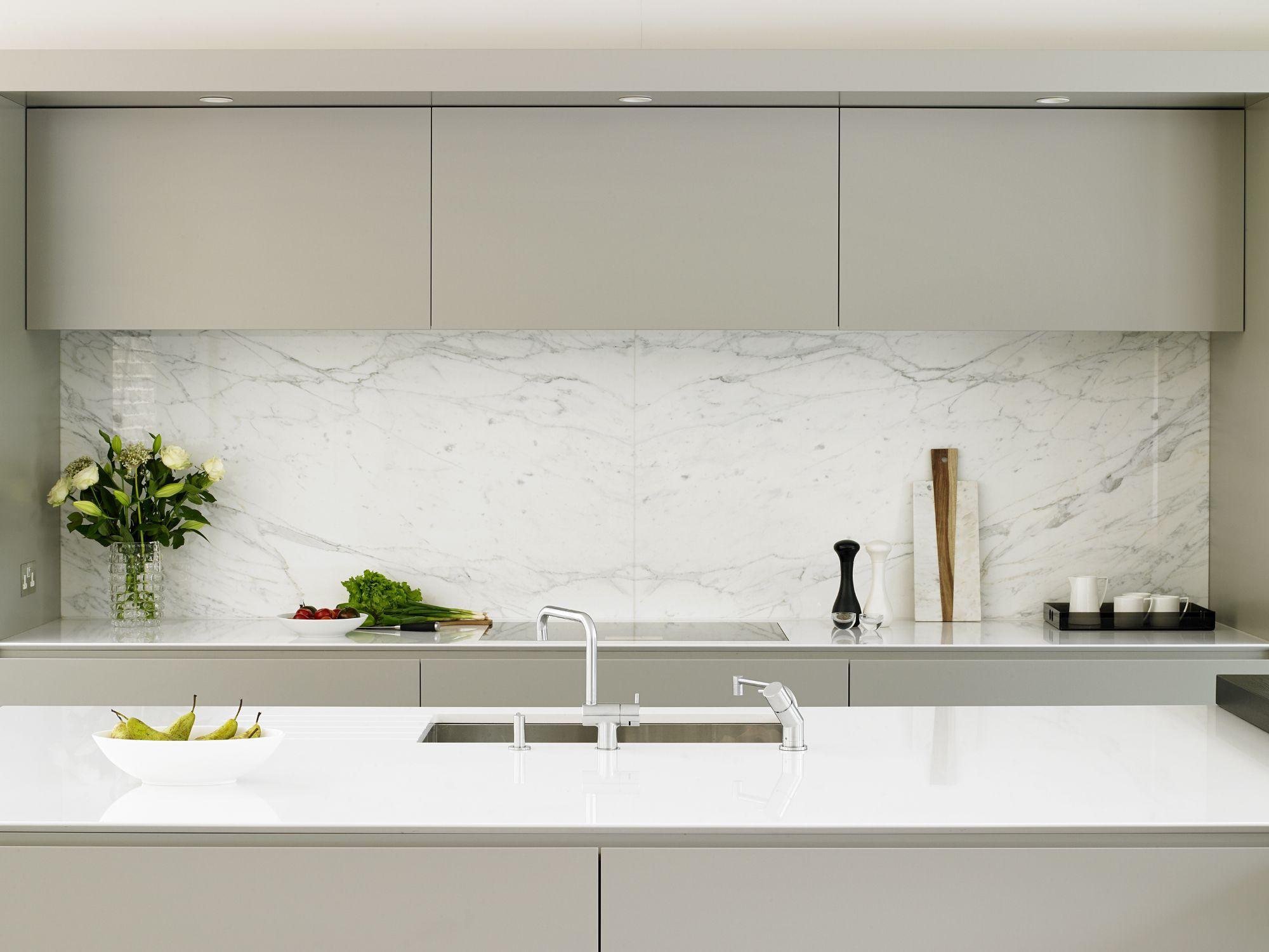 Wandsworth kitchen - cabinets, calacatta marble splashback and ...