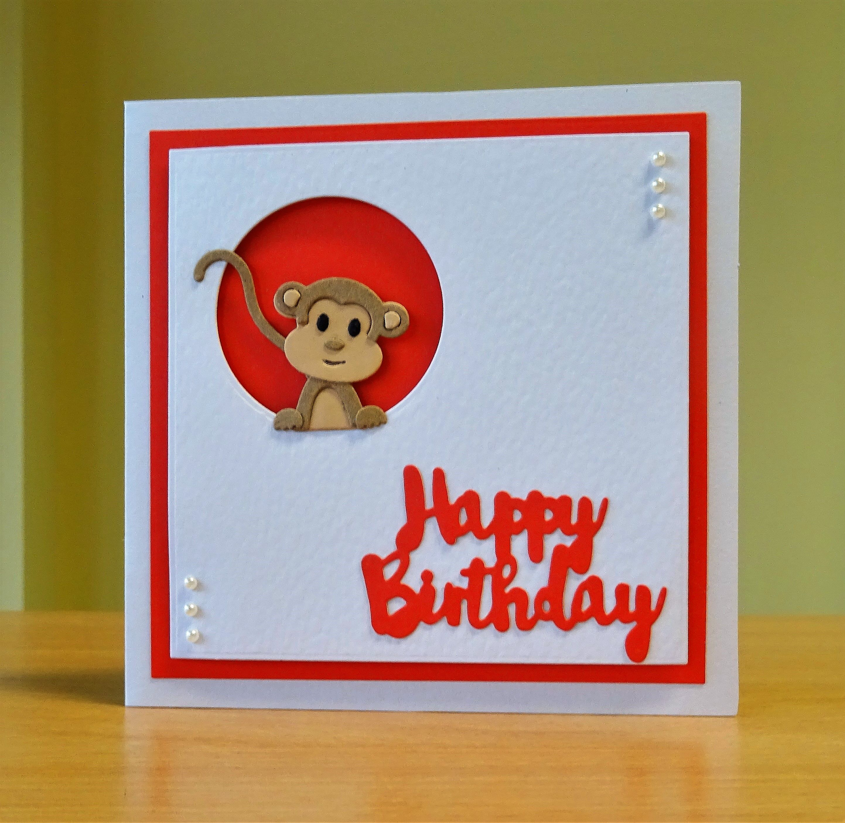 Birthday Card Cottage Cutz Monkey Die To Purchase My Cards Please