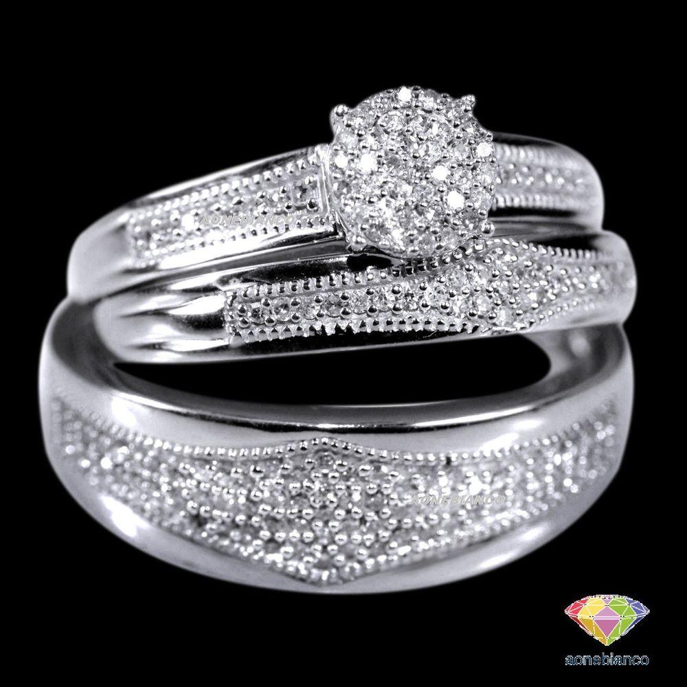 Diamond Trio Set Matching Engagement Ring 10k White Gold Wedding Band 1 31 Ct Aonebianco Wedding Ring Trio Wedding Ring Trio Sets Wedding Rings Engagement