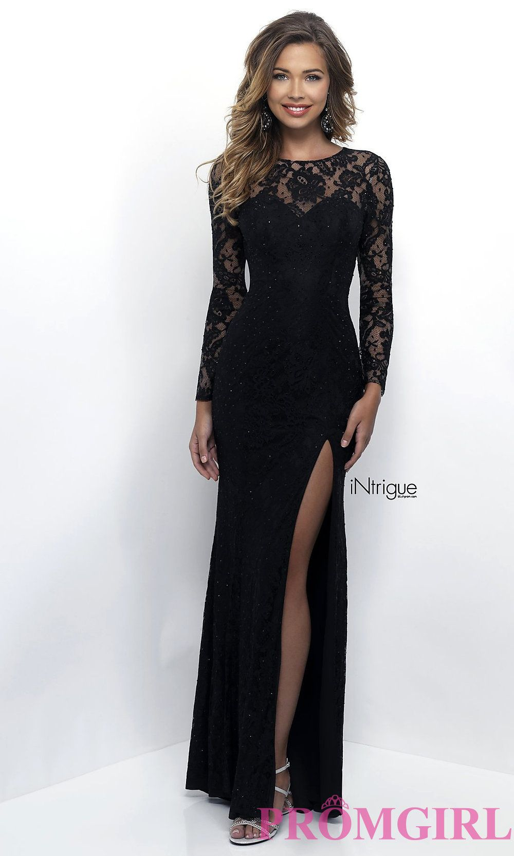 dce288bb3fad1 Long Sleeve Black Lace Prom Dress in 2019