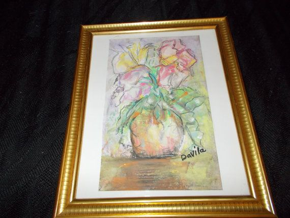 Original Collectible Floral Pastel Painting Direct From Texas Artist Signed Framed Under Glass Table Top Or Wall Mount 9 5x11 5 Texas Artist Original Collectibles Original Pastel