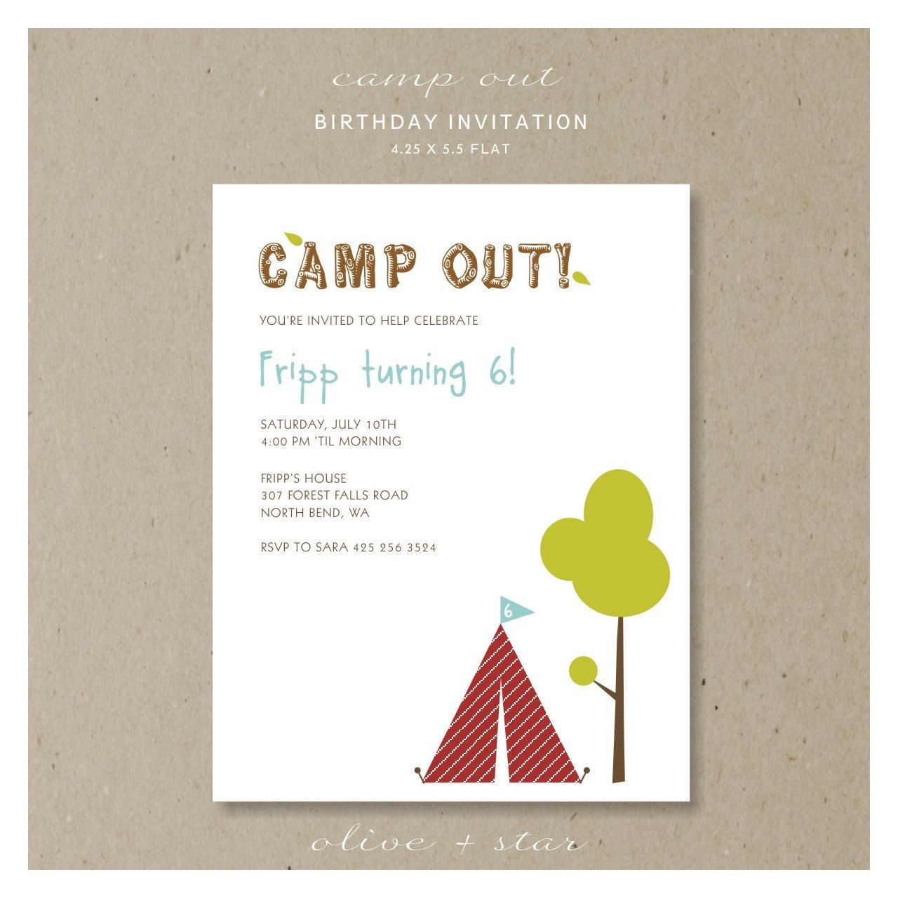 camp out : birthday party invitation set | Camping Party | Pinterest ...