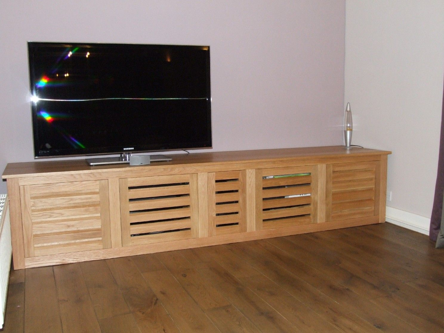 Bespoke Oak Tv Cabinet With Louvered Doors