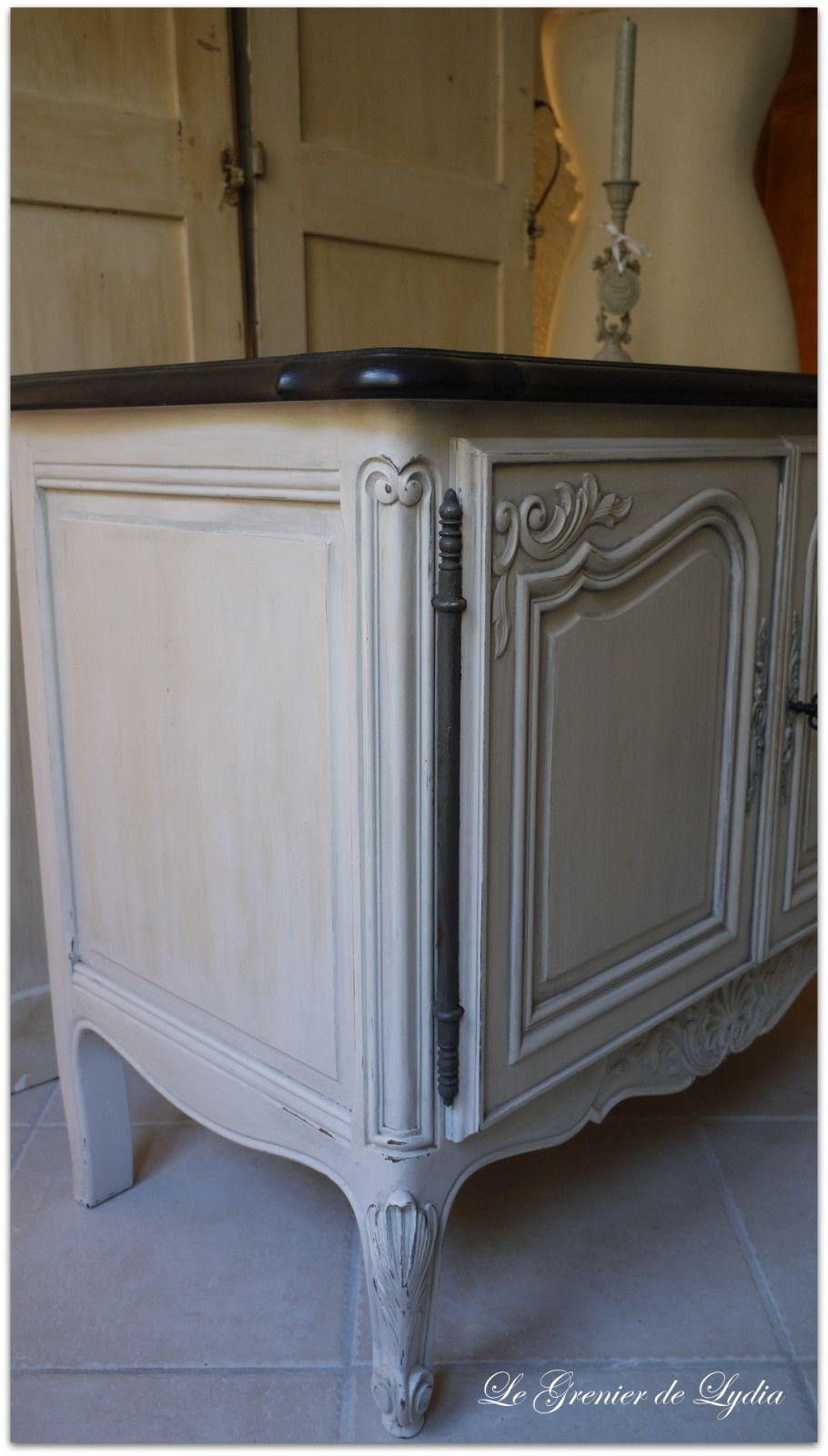 Patine au glacis plateau patin noir patine sur meubles val d 39 oise les relookings by le - Relooking meuble ...