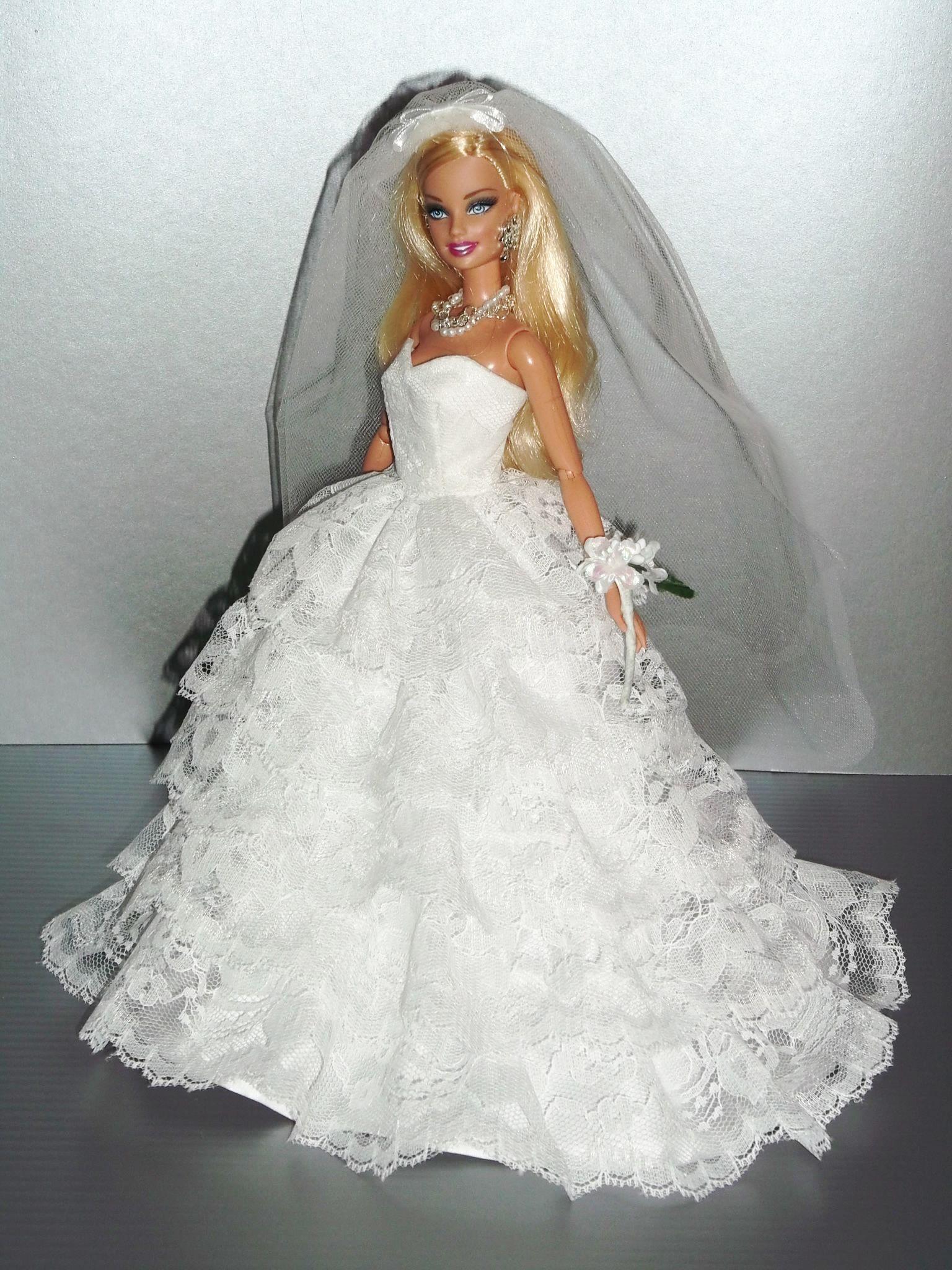 Doll wedding dress  Barbie bridal wedding gowns Rocio Couture   qw  BarbieDoll