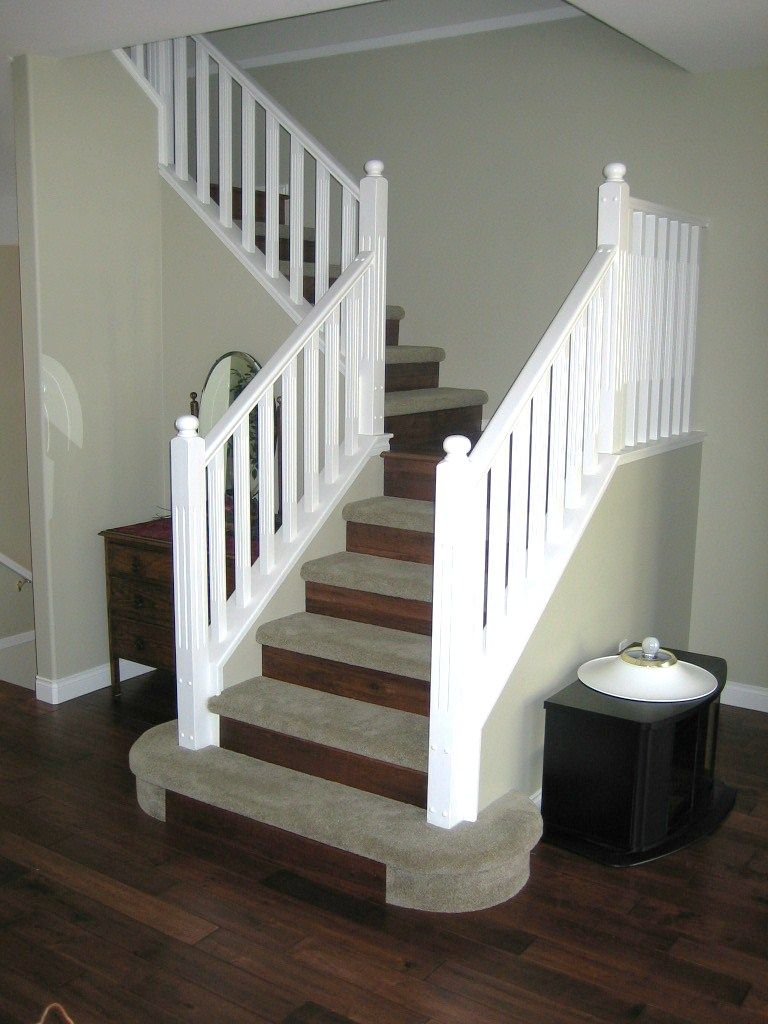 Carpet The Treads And Put Laminate (or Hardwood) On The Risers. This  Provides Safety And Comfort   Wood Treads Are Hard On The Joints And  Slippery ...