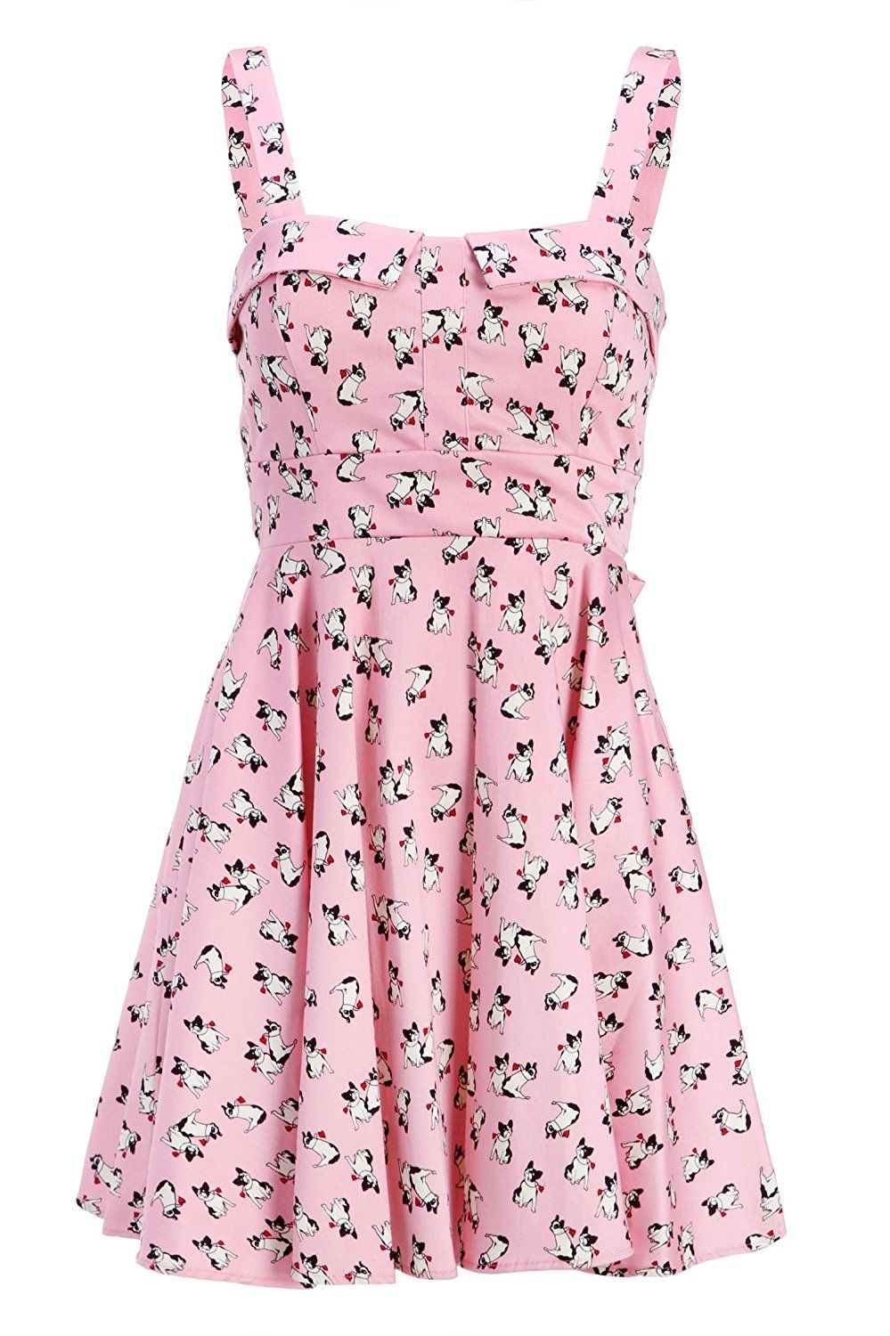 Womens Pink Boston Terrier Dog Print Retro A Line Dress Size Small At Amazon Women S Clothing Store A Line Dress Dresses Pink Ladies