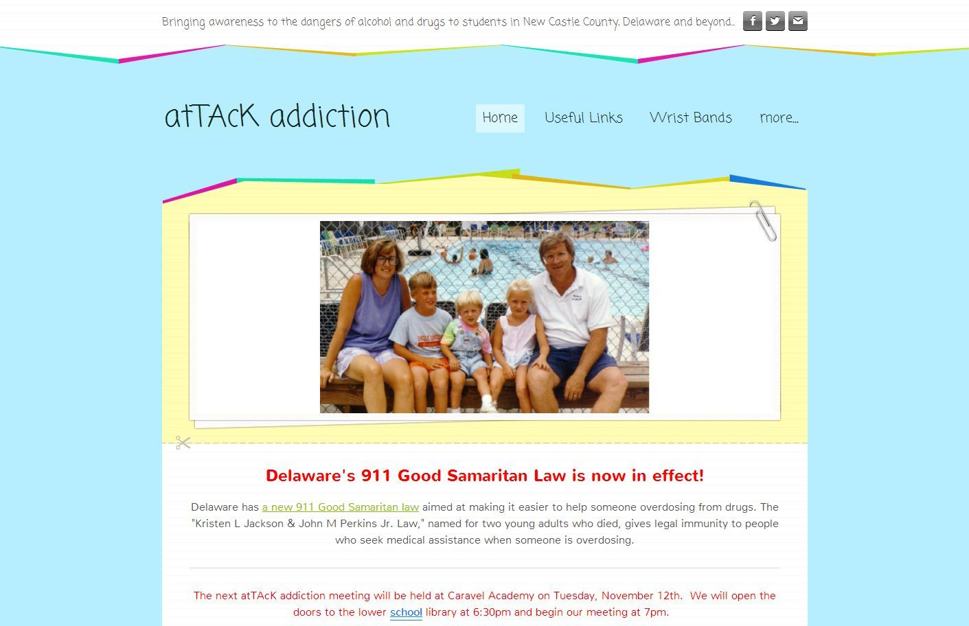 """attackaddiction.com; """"Bringing awareness to the dangers of alcohol and drugs to students in New Castle County, Delaware and beyond..."""" Pinned by the UR Linked cell phone app on October 28, 2013"""