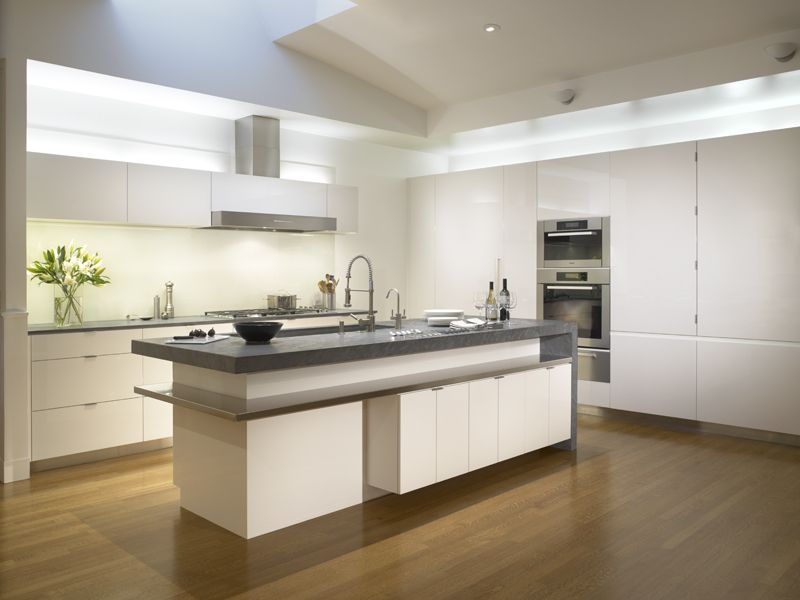 Custom high-gloss lacquered cabinetry and Miele appliances Built by