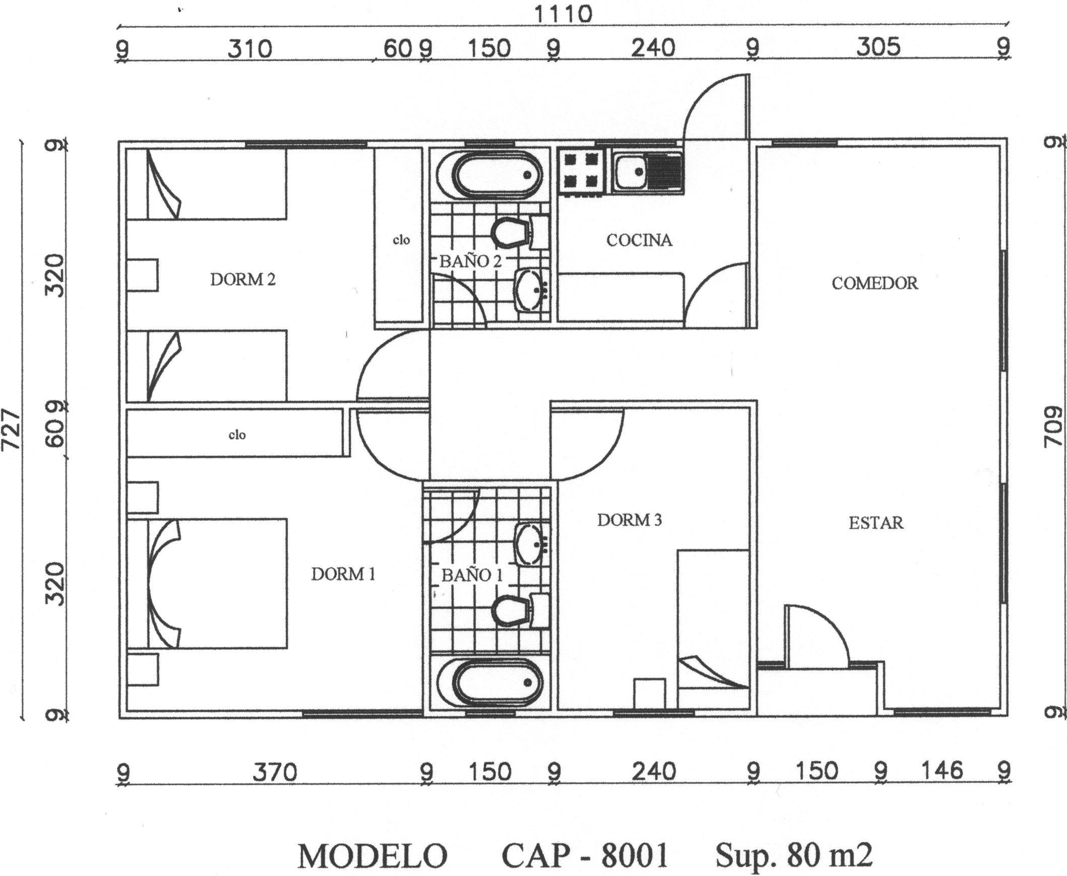 Plano casa 60 m2 3 habitaciones prefabricada buscar con - Plano piso 50 metros ...