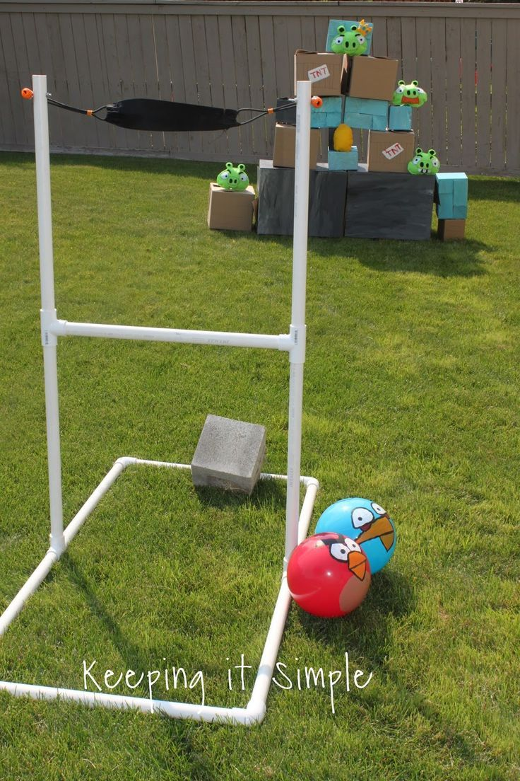 diy giant angry birds game with sling shot pigs and birds