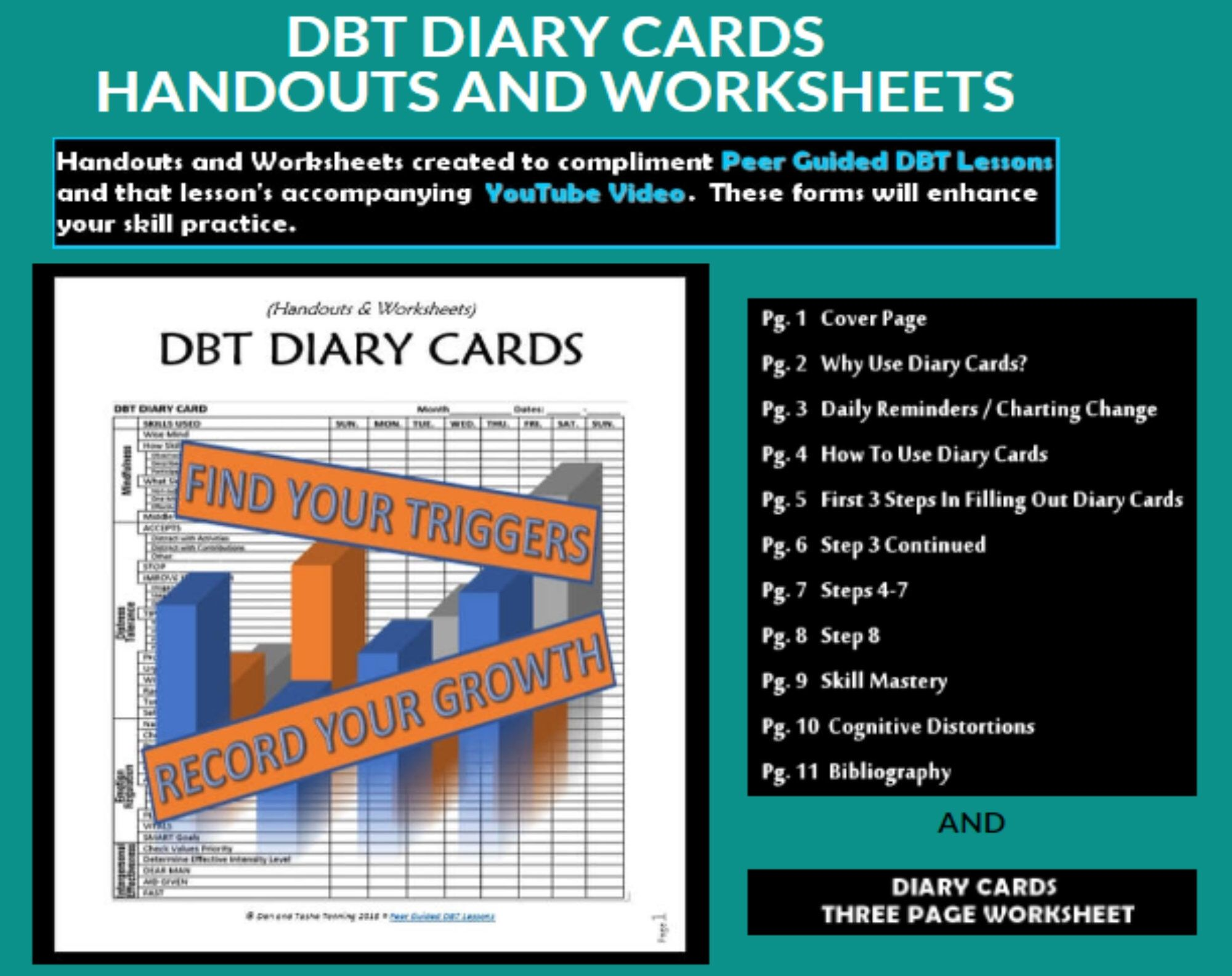Dbt Lesson 0 2 D B T Diary Cards Worksheets And Handouts