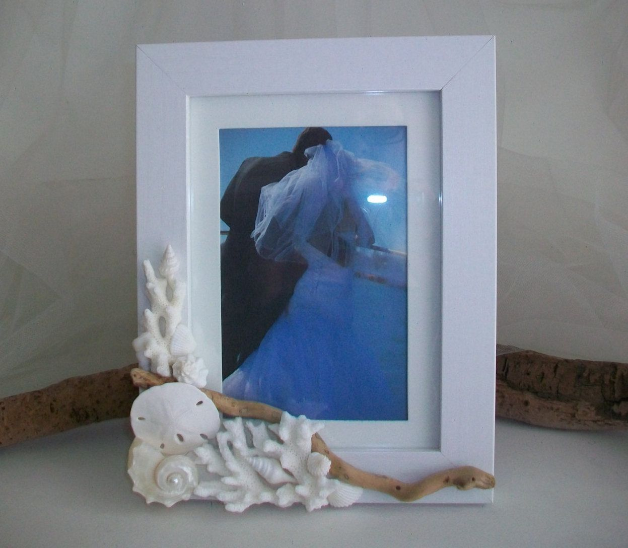 beach theme wedding photo frame shell coral driftwood picture
