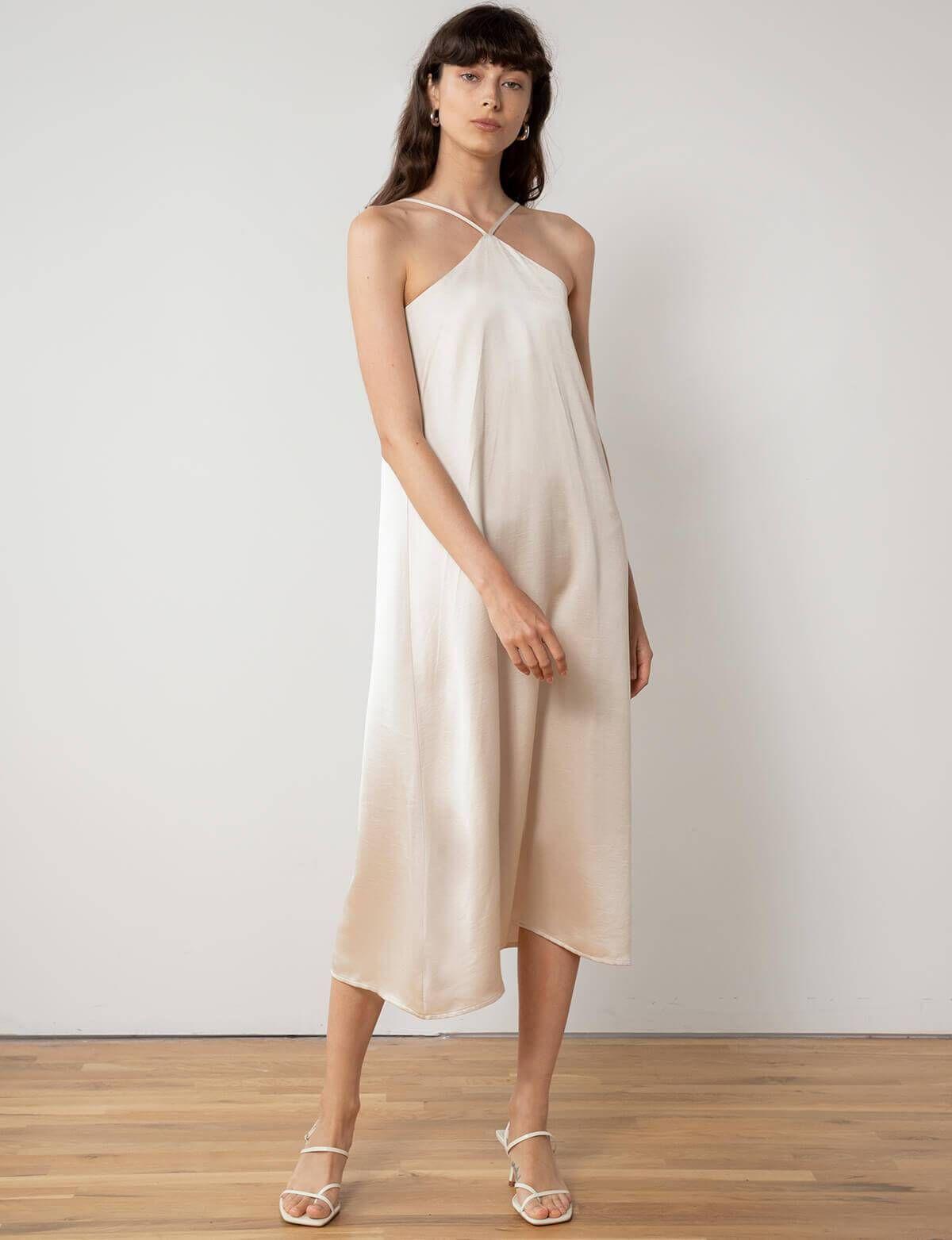 Leticia halter silky dress in 2020 silky dress white