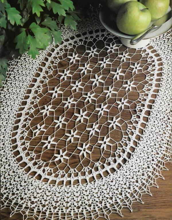 Idea for market bag - Oval Tablecloth Decorative Crochet