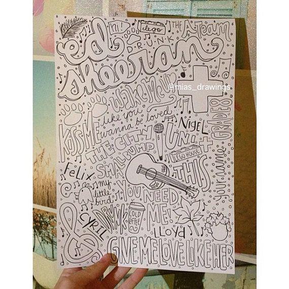 Ed Sheeran drawn Collage | ed sheeran | Pinterest | Dibujo, Deberes ...