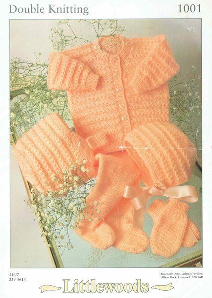 Littlewoods 1001 Baby Pram Set Vintage Knitting Pattern Knitting