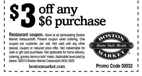 Saving 4 A Sunny Day $3 Off Of $6 At Boston Market deals - free lunch coupon template