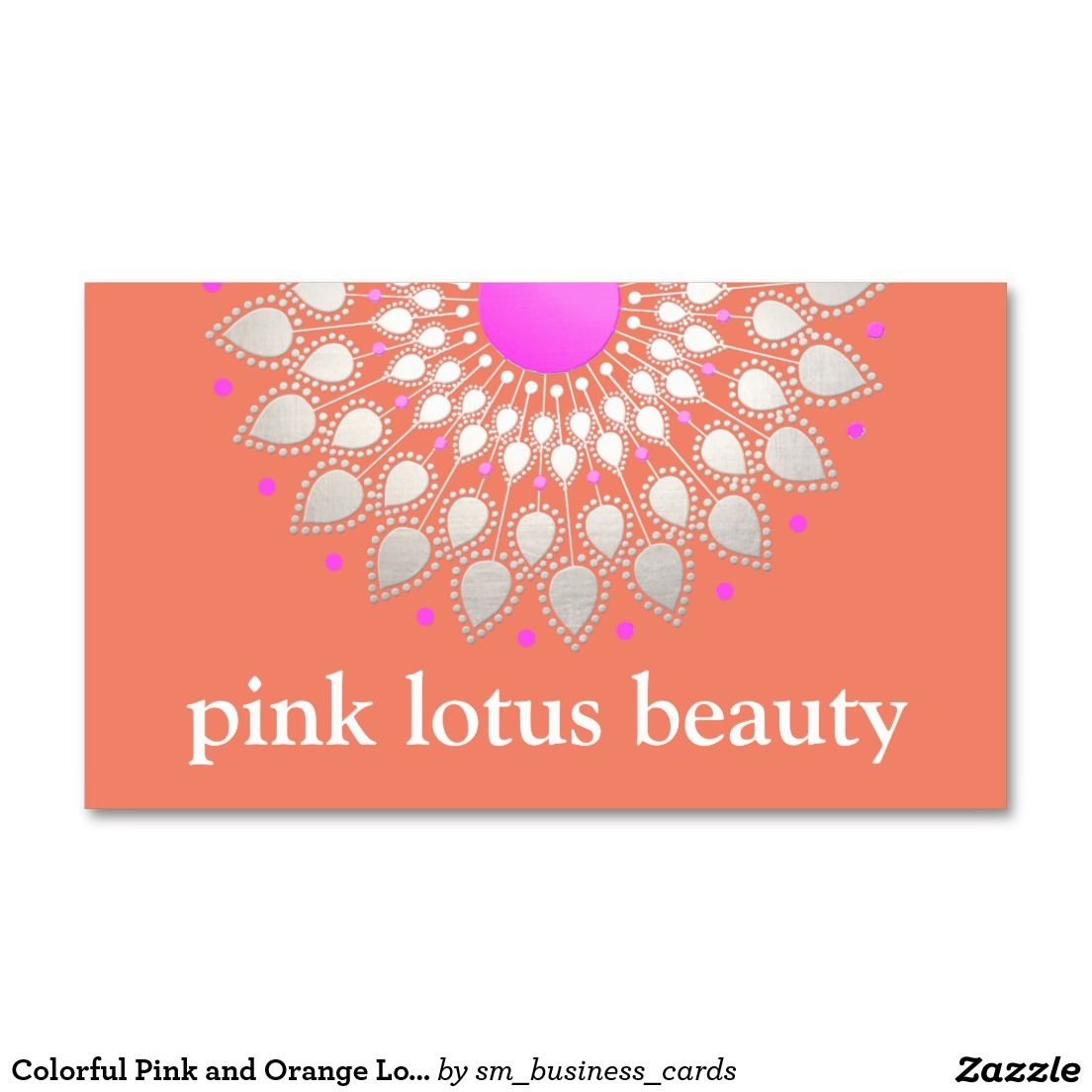 Colorful Pink and Orange Lotus Flower Business Card - cute ...