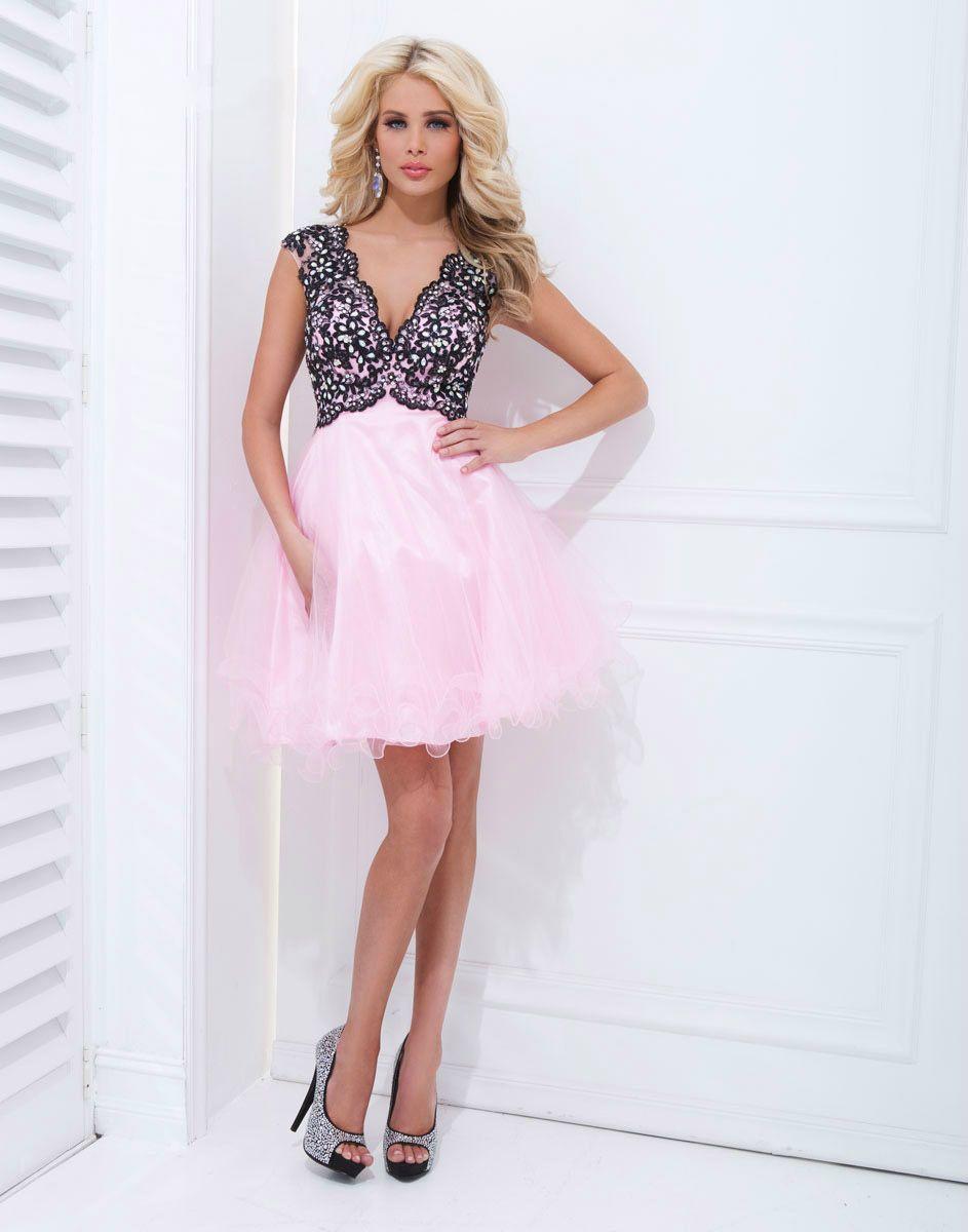 2014 Nueva Sweet Pink Una línea V-cuello y espalda abierta Appliques ...