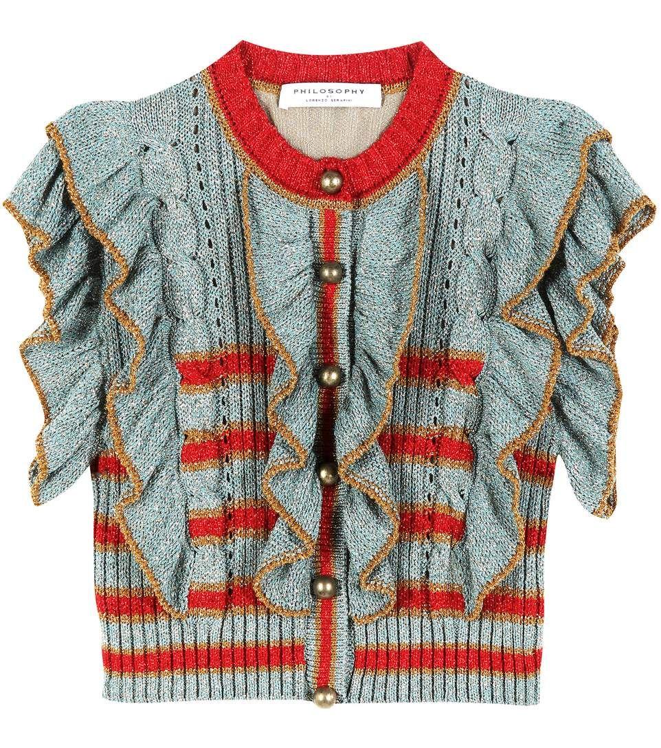 Cropped metallic knitted sweater | Stricken mode, Di lorenzo