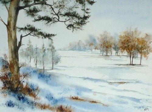 Aquarelle plaine paysage neige hiver pin arbre peinture - Dessiner un paysage d hiver ...