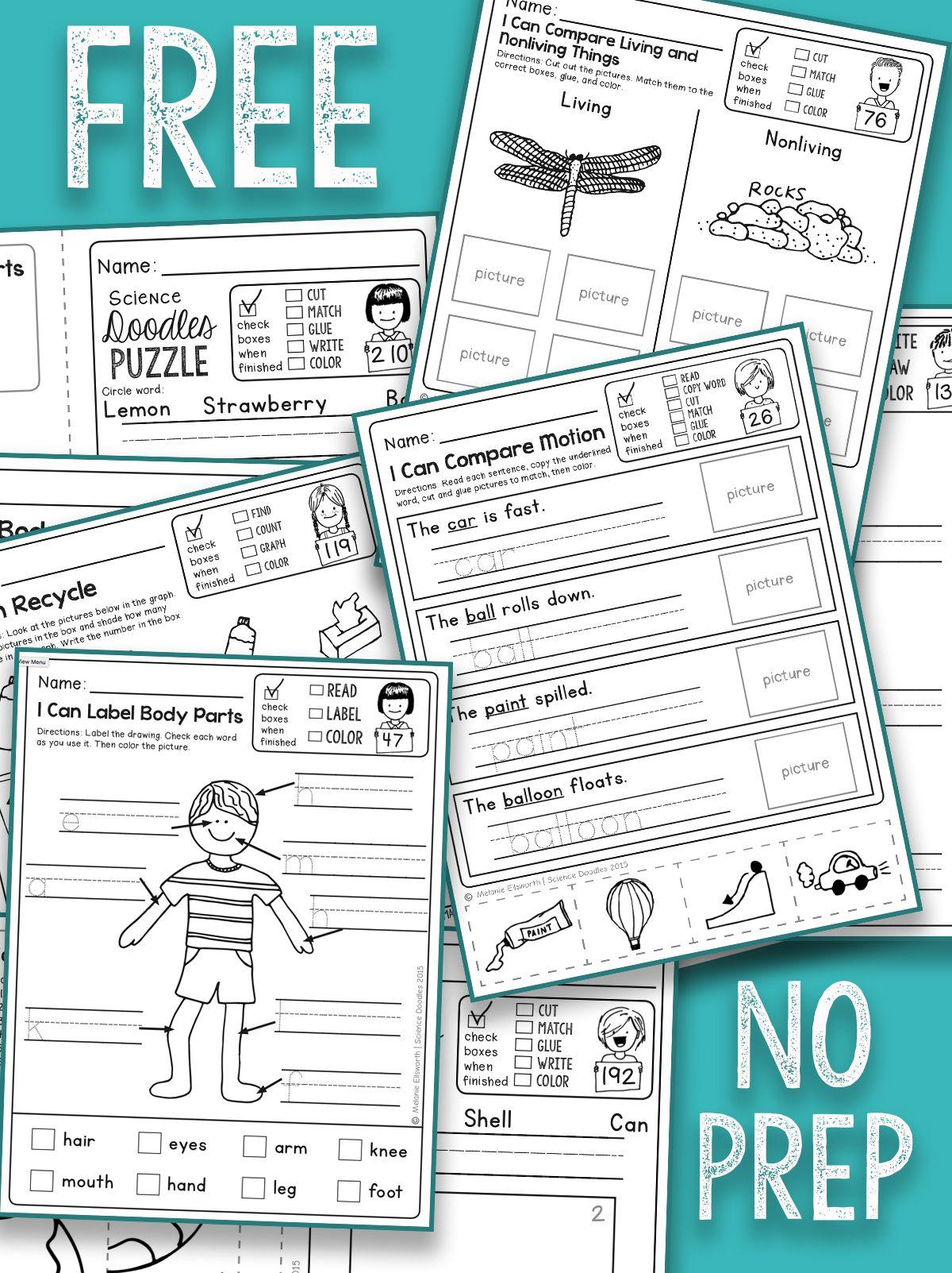 FREE, NO PREP kindergarten science printables School