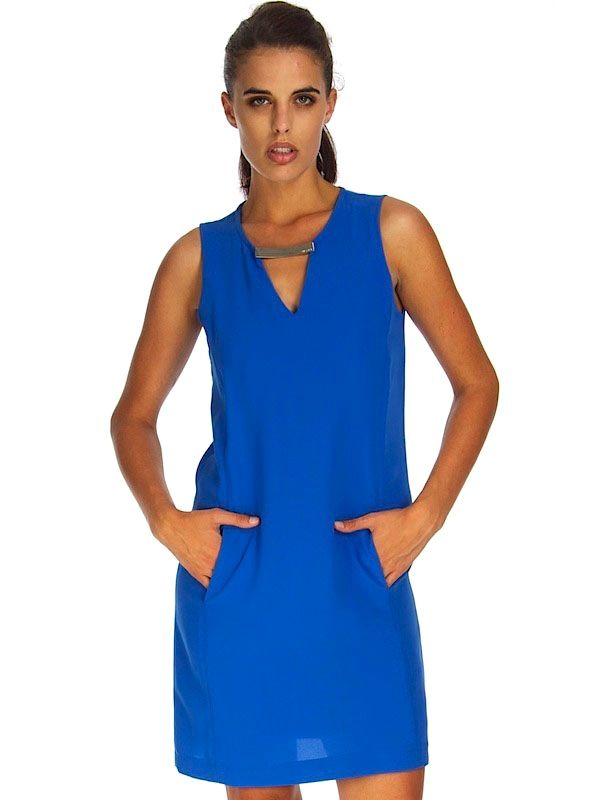 SHIRLEY SHIFT DRESS WITH POCKET DETAIL